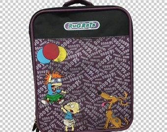 SALE 90s Rugrats Carry-On Hard Case Roller Suitcase // 90s Purple Nickelodeon Kids Cartoon
