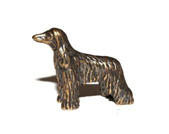 Afghan Hound dog - a miniature statuette of bronze,  metal figurine