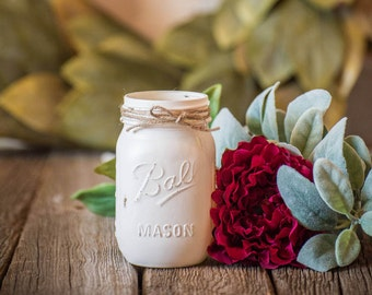 Ivory Wedding Decor Rustic Centerpiece Mason Jar Farmhouse Distressed Baby Shower Party