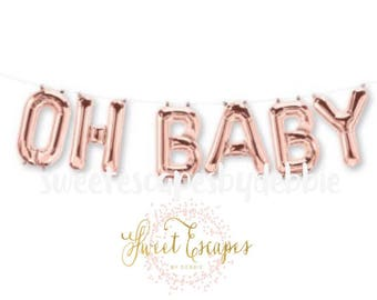 Oh Baby Rose Gold Letter Balloons ~ Baby Shower Balloons ~Rose Gold Balloons ~ Baby Shower Decor~ Engagement Party~ 13.5 inch Air Fill Only
