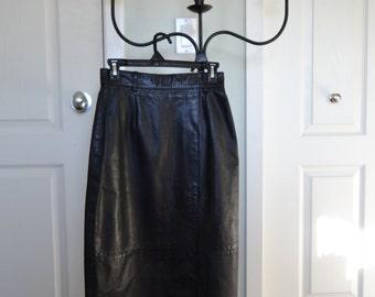 BAD MAMA Long Black Leather Skirt, Margaret Godfrey 1980s