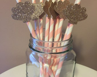 Gold Glitter Seashell Light Pink Paper Straws