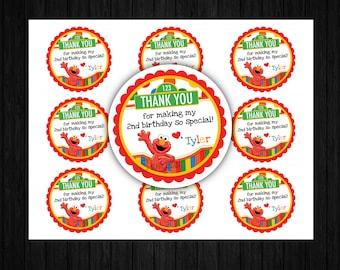 Elmo Favor Tags ONLY, Elmo birthday, Elmo printables, elmo invitation, elmo printables, elmo thank you tags, sesame street