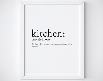Kitchen definition - kitchen print - dictionary print - kitchen poster - kitchen decor - definition print - quote print