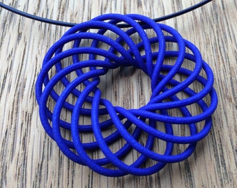 Blue Vortex Pendant - 3D printed Pendant -  Blue Necklace - wearable art - Spirograph - jewellery - Katy Luxton Jewellery