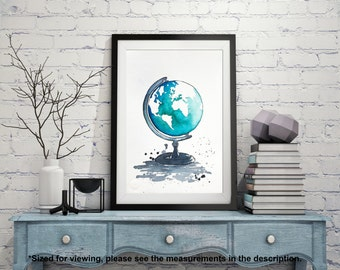 Original World Map Watercolor Painting, Globe Illustration, Travel Illustrator, Modern Wall art, Home Decor, Handmade Holiday Gift
