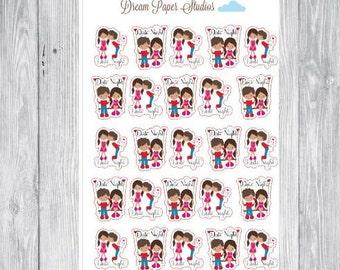 couple date night stickers for Erin Condren planner/ plum planner