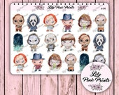 18 Horror Movie Character Stickers H-04 - Perfect for Erin Condren Life Planners / Journals / Stickers.