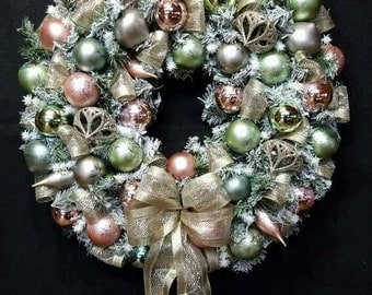 """24"""" Antique pink, green and gold Christmas Door Wreath / White Flocked Artificial Pine / 2 feet / Holiday Decor"""