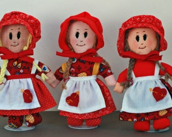 February sweetheart dolls - Valentine girls - assorted prints - bonnet and apron - childs toy - Valentine decor - February birthday gift