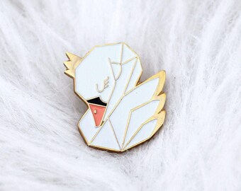 Swan enamel pin - swan lapel pin - swan Badge - pins - enamel pins gold metal - accessory and gift woman - Kid mode