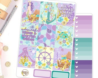 Mermaids Vertical Weekly Kit for use in Erin Condren Vertical Life Planner Deluxe Weekly Kit
