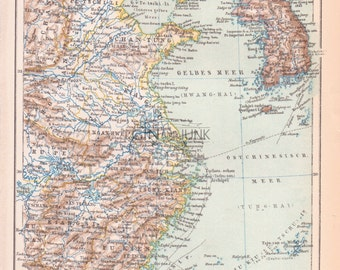 Antique Map of China and Korea - Far east asia antique map from 1890.