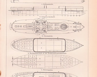 Vintage Ship Patents - Vintage Ship Print from the 1890's