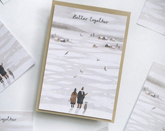 better together. postcard // love postcard. winter postcard. romantic postcard.