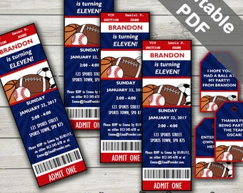 All Star Sports Party Invitations And Free Sports Favor Tags. Editable PDF. Printable. Instant Download.