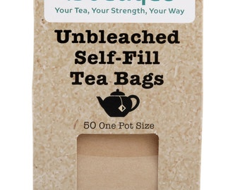 spice.boutique - 50 UNBLEACHED Self Fill Empty Teabags, One Pot Size, drawstring FREE Post UK & Europe, Loose Leaf, Fruit, Herbal, Green Tea
