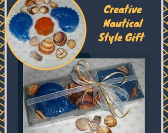 Creative Minimal Nautical Style Gift, Soap Shells and Natural Sea Shells, Beach Scented Soap, Exclusive Ocean Orange Glycerin Nautical Soaps