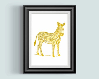 Zebra Print, Nursery Wall Art, Gold Foil print, Zebra Decor, Safari Theme, Zebra art, Gold print, Gold art