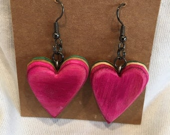 Recycled Skateboard Heart Shape  Wooden Earrings