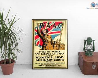 "Womens Army Auxiliary Corps Poster -  Vintage print / art - ""Every Fit Woman..."""