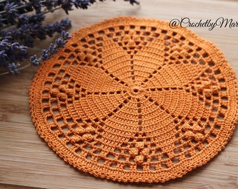 Orange doily, Round crochet doily, Mini doily, Handmade doily, crochet item, crochet lace doily, Wedding decoration, christmas decoration