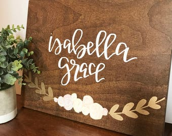 Custom baby name wood sign- floral sign, wood sign, wood floral sign, baby name wood sign, baby name sign, baby girl nursery, name sign