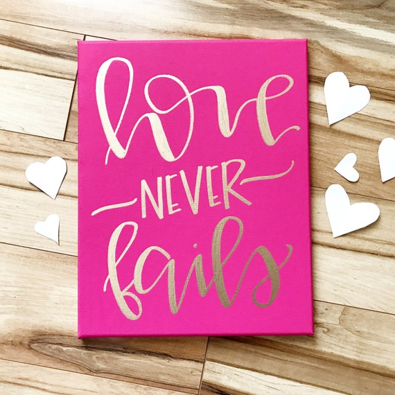 Love Never Fails Canvas Sign