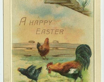 Easter Greetings Chickens in Barnyard Series 323 c1910 Embossed Postcard