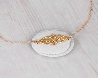 Gold Celtic Necklace, Dainty Gold Filled Necklace, Layering Gold Necklace, Celtic Knot Pendant, Celtic Jewelry, Geometric Necklace Irish
