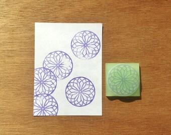Round mandala stamp, mandala rubber stamp, mandala eraser stamp, texture stamp, handmade pattern rubber stamp, hand carved stamp