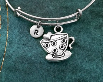 Tea Cup Bangle Tea Cup Bracelet Tea Jewelry Teacup Bracelet Stackable Bangle Initial Charm Bracelet Adjustable Bangle Personalized Bangle