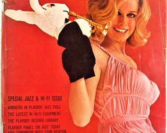 Playboy February 1964 spine damage, folded pages and badly torn back cover, FREE SHIPPING