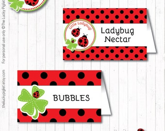 LADYBUG FOOD LABELS, Ladybug Theme Party, Ladybird Party Printables - Instant Download, Edit Text in Adobe Reader