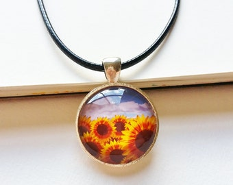 Sunflower Meadows Necklace - sunflower necklace, sunflower pendant, sunflower jewelry, flower necklace, flower jewelry, yellow sunflowers