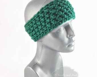 Green Crochet Headband, Chunky Ear Warmer, Knit Head Wrap, Emerald Winter Headband, Head Warmer,
