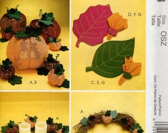 McCall's 6178 Free Us Ship Sewing Pattern Fall Harvest Fabric Pumpkins Ornament Placemats Kitchen Decor Thanksgiving New Out of Print