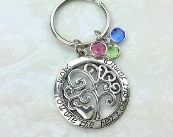 Mom Keychain/ Tree Of Life Keychain /Mother's Day Gift /Heart Mom Charm/Grandma Gift/Personalized/Swarovski/ Mom Gift/  Birthday/ Gift