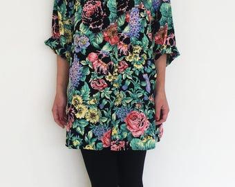 Vintage black multi color floral viscose button down shirt.over size