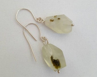 Unique green prehnite and sterling silver drop earrings