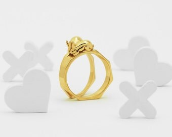 Together Apart (Brass, Bronze 3D Printed Rabbit Ring)
