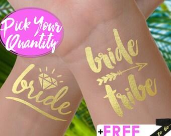 Bride Tribe Tattoos | bachelorette party tattoo, metallic temporary tattoo, gold foil tattoo, bridesmaid gifts, gold tattoo, favor