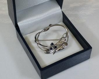 Brooch silver 800 3 sapphires K & L vintage old SB296