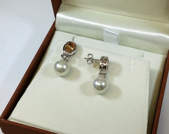 925 Silver earrings White Pearl orange and clear Crystal stones SO181