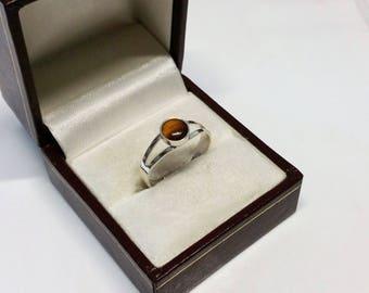 17.4 mm ring silver 835 Tiger eye vintage SR818
