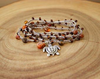 Boho Crochet Wrap Bracelet/ Turtle Charm  Bracelet/ Wrap Bracelet