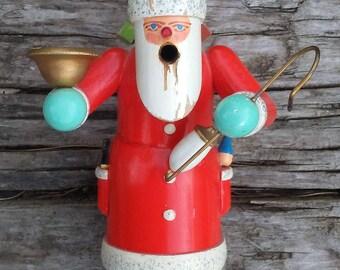 German Smoker Santa Vintage incense burner Erzebirge carved wooden St Nick Christmas decoration Candle Holder German Democratic Republic