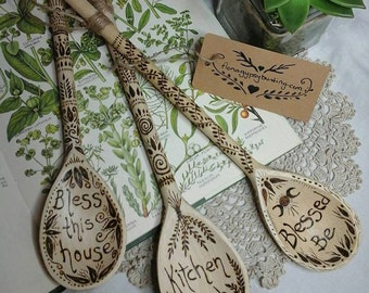 Kitchen witch spoon,witchy wooden spoon,pyrography spoon,pagan decor,pagan kitchen,Bless this house,kitchen witch,wooden spoon,pyrography