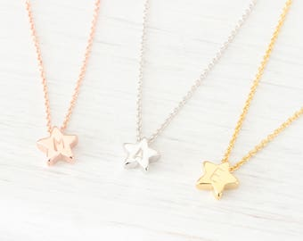 Tiny Gold, Rose Gold, Silver Star charm Necklace, Small Initial Minimalist Simple Dainty Delicate Everyday, Gift for her Best friend