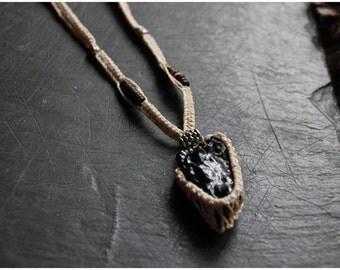 SALES !!Hematite Necklace -Volcanic Stone -Tribal - Ethnic - Boho - Travelling - Gypsy - Unique - Macrame - Spirit - Fusion - Burning Man -